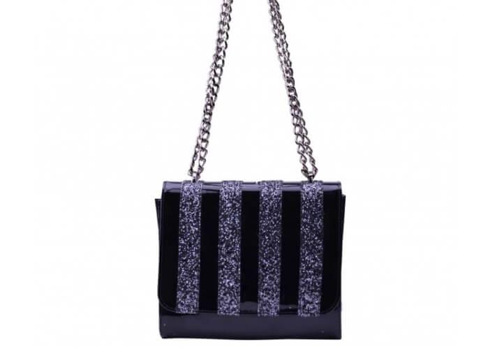 crno srebrna torbica